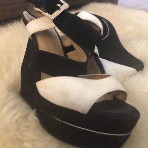 Aldo Shoes - Aldo Black and White Suede Wedges